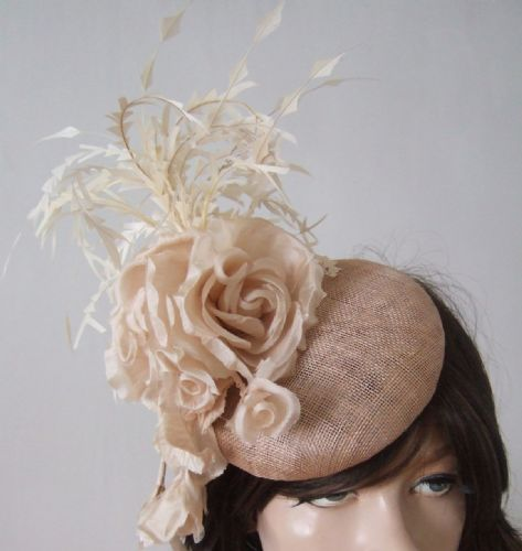 "Three Tone Nude Almond Beige Cream Feathered Floral Headpiece Hat ""Roxanne"""